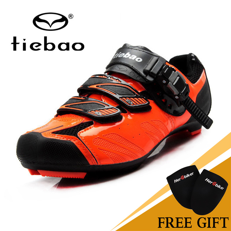 NEW Tiebao High Quality Male or Female Road Cycling Self-Locking Shoes Professional Road Cycling Shoes  Orange tiebao professional road shoes rotating screw steel wire with fast cycling shoes road bike shoes tb16 b1259