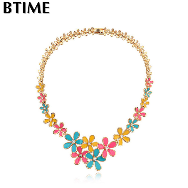 Btime   necklace  torques women popcorn chain gold plated trendy Crystals From Swarovski