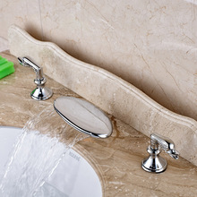 Deck Mounted Widespread Waterfall Bathroom Faucet Chrome Brass Lavatory Sink Mixer Taps