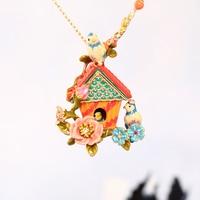 Europe And The United States Style Blue Mountain Bird House Necklace Women Enamel Glaze Good Quality