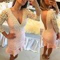 Evening Party Dress Three Quarter Sleeve Lace Prom Dresses Sexy Back Mini Cocktail Dresses 2017 Fashion Party Dresses