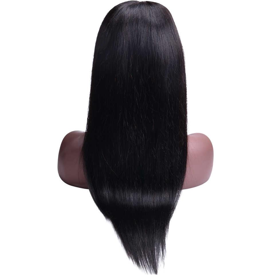 Парики из натуральных волос на кружеве для черных женщин, предварительно сорванные бразильские прямые волосы на кружеве, al парик с детскими волосами, 4x4 парик на застежке