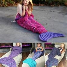 Sleeping Bags Winter Super Soft Warm Hand-Crocheted Mermaid Tail Blanket Sofa Blanket Children Cute Kids Blankets Hand-Crochet