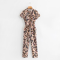 Fashionable Casual Summer Leopard Print Bodysuits Rompers Stand Collar Lace Up High Waist Jumpsuits for Women's Clothing