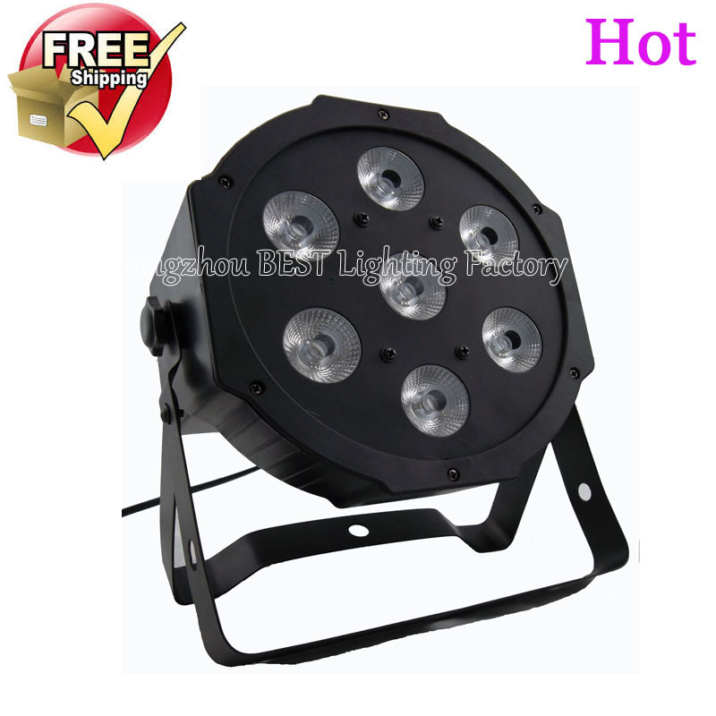 2pcs/lot the brightest 4/8 dmx Channels Led Flat Par 7x12W RGBW 4IN1  4pcs lot the brightest 4 8 dmx channels led flat par 18x12w rgbw 4in1 led par can light with power in power out