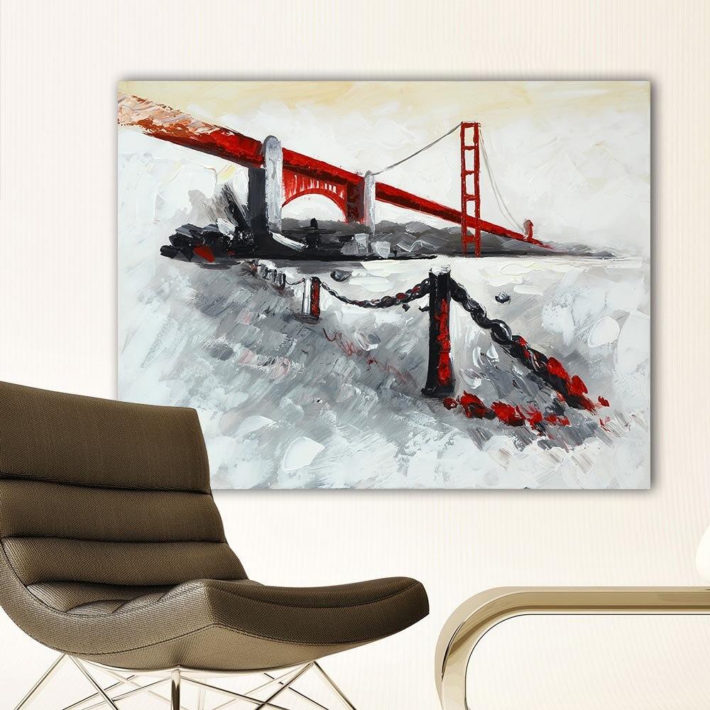 ΞImpresión del arte de la lona abstracta moderna Golden Gate Bridge ...