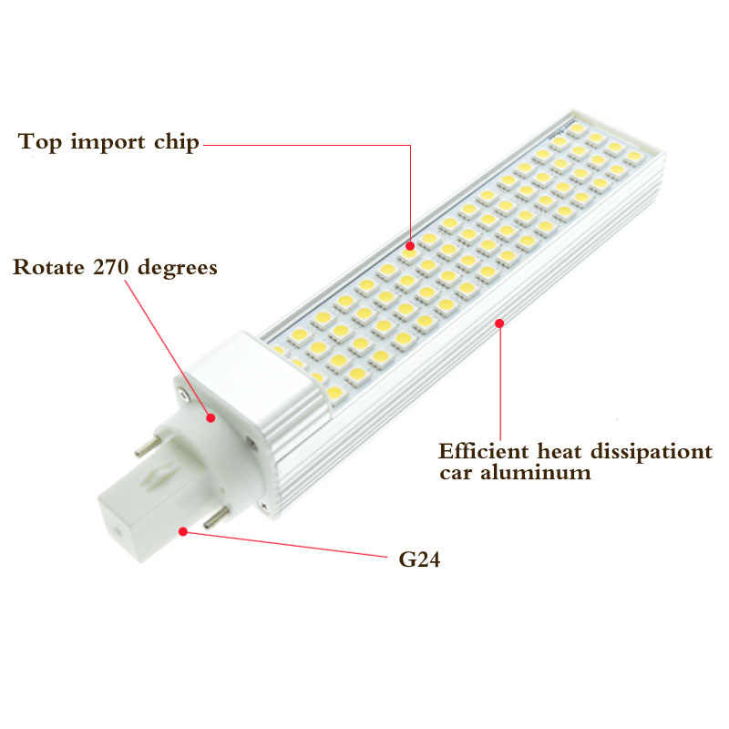 G24 Светодиодные g24d-1 G24d-3 G24d-3 AC85-265V 110 V 220 V led лампочка pl лампа реальная мощность 5 Вт, 7 Вт, 9 Вт, 12 Вт, 15 Вт SMD5730 5050 2835 Светодиодная лампа