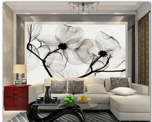 Beibehang 3D Wallpaper Hand Painted Flowers Black And White Purple Hand  Painted Mural TV Wall Background Wallpaper For Walls 3 D