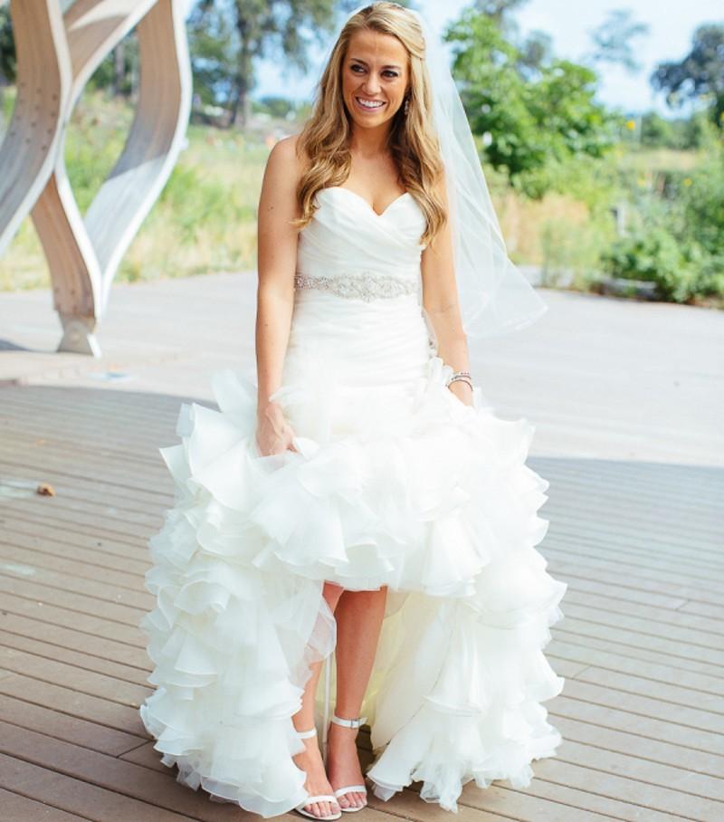 Sirène Sweetheart Dentelle-up Organza À Volants Trompette Avec Ivoire Perles Robes de Mariée robe de noiva mère de la mariée robes