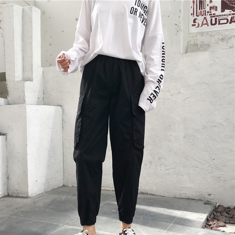 High Waist   Pants   Loose Joggers Women Army Harem Camo   Pants   Streetwear Punk Black Cargo   Pants   Women   Capris   Trousers