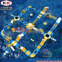 Inflatable Amusement Park Team Building Equipment Sea Lake Floating Inflatable Water Park