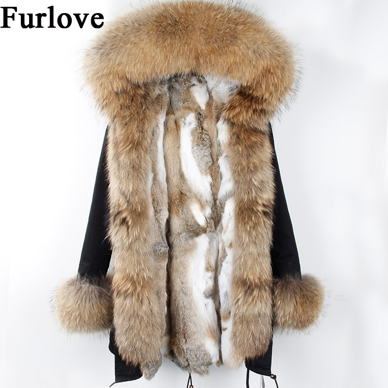 Womens Winter Jacket Women Real Rabbit Fur Coat Jackets Natural Raccoon Fur Collar Hooded Parkas Vintage Warm Thick Long Parka printed long raccoon fur collar coat women winter real rabbit fur liner hooded jacket women bomber parka female ladies fp896