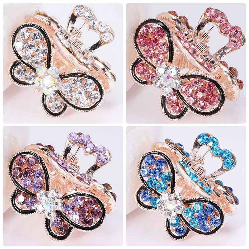New Women Butterfly Crystal Rhinestone Claw Hairpin Hair Clip Clamp AccessoO`US