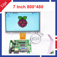 52Pi 7 inch 800*480 TFT LCD Display Monitor Screen with Driver Board HDMI VGA 2AV for Raspberry Pi 3 / 2 Model B / PC Windows