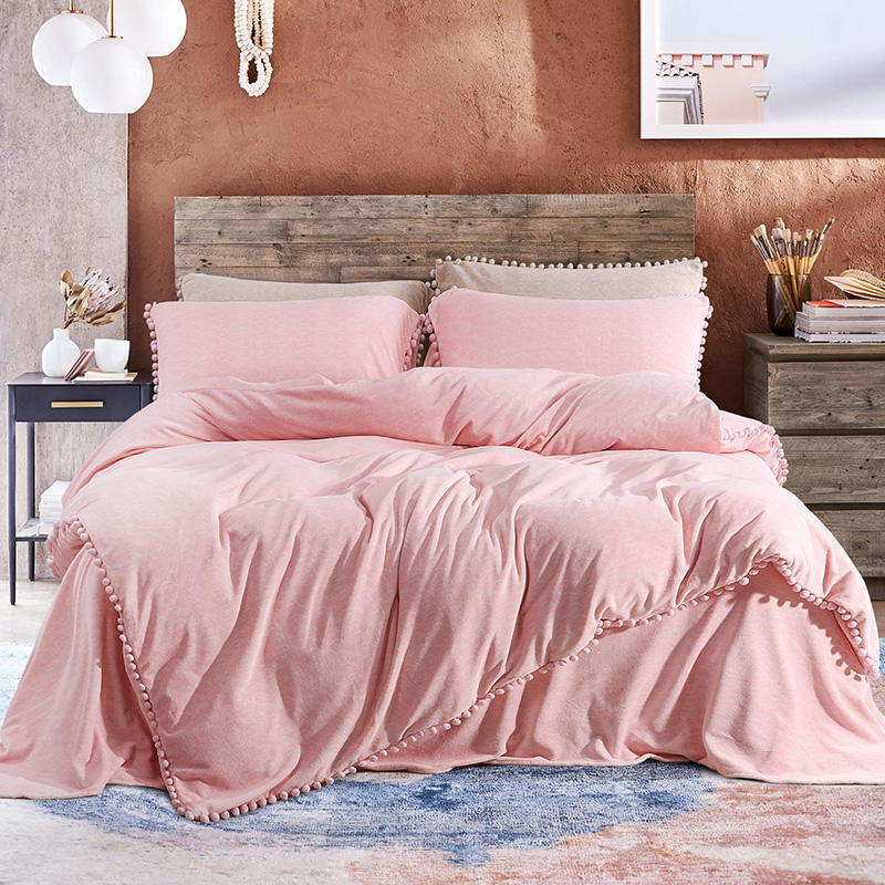 King Queen size Pink Princess Bedding Set Fleece Warm Flat Bed Sheet Bed set Duvet Cover