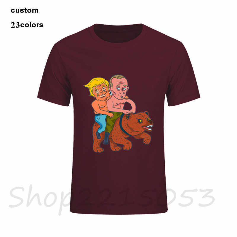 2019 Streetwear Trump e putin montando um urso Homens tshirt engraçado verão harajuku camisa gótico xxxtentacion tv preto tops t camisas