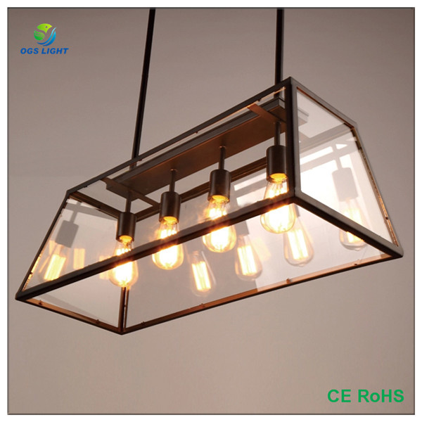 Modern Rectangular Glass Wrought Iron Chandelier
