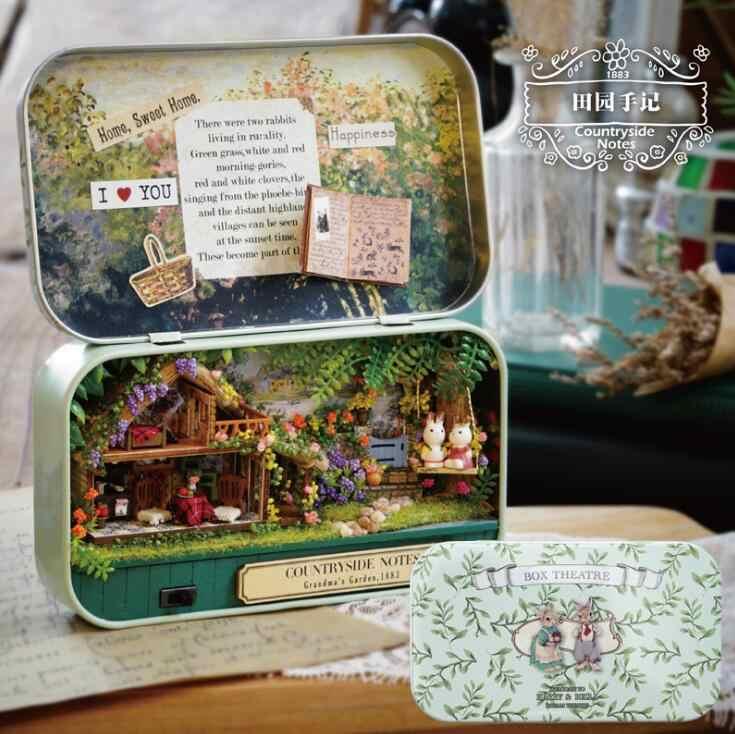 Шкатулка театральная ностальгическая тема миниатюрная сцена деревянная миниатюрная головоломка игрушка DIY кукла домашняя мебель сельская заметка GYH