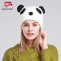 DINISITONผู้หญิงที่อบอุ่นหมวกอินเทรนด์ฤดูหนาวที่อบอุ่นถักนุ่มBeaniesยืดหมวกแพนด้าแบบGorroหมวกที่มีค...