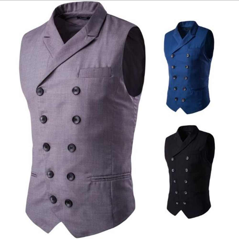 2019 Mens Suit Vest Men Jacket Sleeveless Black Blue Vintage Formal Business Dress Vest Male Slim Double Breasted Waistcoat