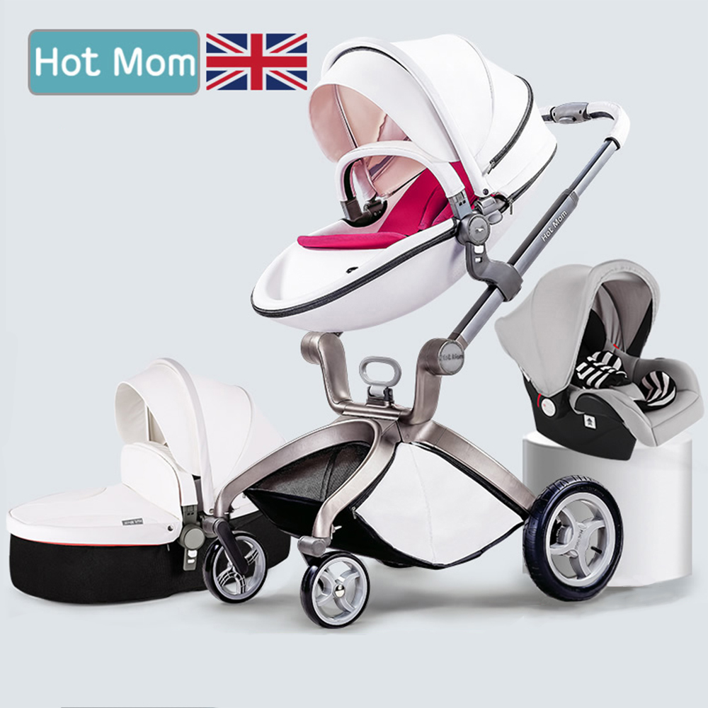 Hot mum brand baby strollers 3 in 1 baby car high quality with baby sleeping basket and car seat 3 colors send cushion free original hot mum baby strollers 2 in 1 bb car folding light baby carriage six free gifts send rain cover