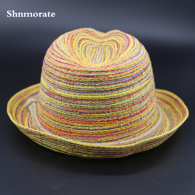 Summer New Bohemia Style Womens Sun Hat Braid Decor Flanging Straw Hat Beach Caps Head Circumference Curved Brim Wind cap