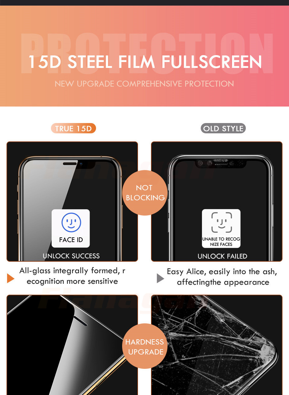 15D Protective Glass on the For iPhone 6 6s 7 8 plus XR X XS glass full cover iPhone Xs Max Screen Protector Tempered Glass 3