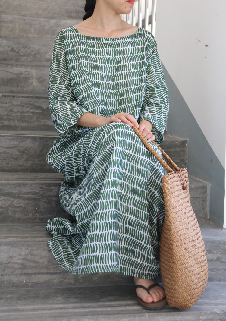 Loose Peasecod Print Three Quarter Sleeve Square Neck Pure Ramie Dress Summer Thin Cool Office Unique