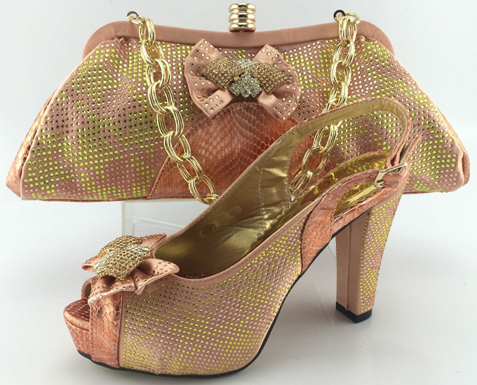 ФОТО New Design African Women Shoes And Bags Set High Quality Italian Shoes And Matching Bags For Wedding Peach Color ME3328