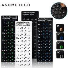 100 pcs Toetsenbord Sticker Russisch/Engels/Frans Toetsenbord Sticker PVC Mat/Glanzend Alfabet Layout Notebook Laptop PC desktop Decal