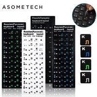 100pcs Keyboard Sticker Russian English French Keypad Sticker PVC Matte Glossy Alphabet Layout Notebook Laptop PC
