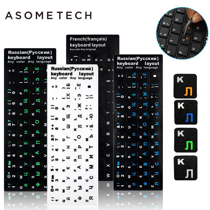 100pcs Keyboard Sticker Russian/English/French Keypad Sticker PVC Matte/Glossy Alphabet Layout Notebook Laptop PC Desktop Decal