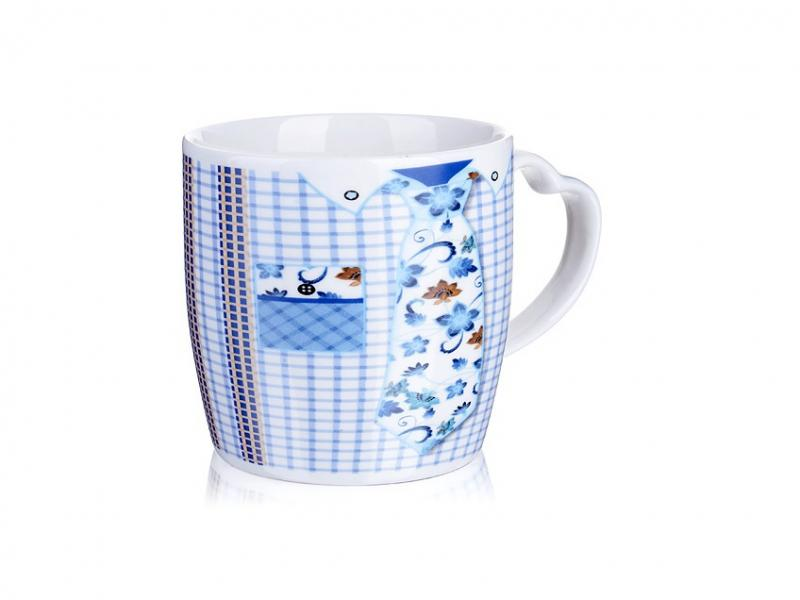 Mug LORAINE, Tie, 300 ml, Blue blue embroidered ruffle sleeves self tie cross front blouses