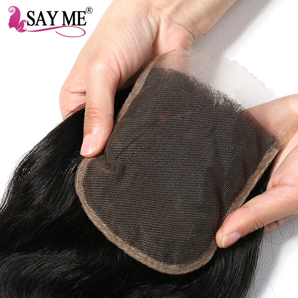 SAY ME Ombre Lace Closure Brazilian Body Wave Closure 1B/4/27 30 Blonde Free Part 4x4 Three Tone  Remy Human Hair Closure-in Closures from Hair Extensions & Wigs    3