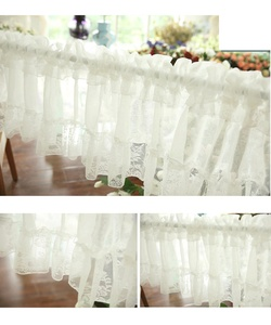 Image 3 - Short Tulle Curtains for Kitchen Finished White Floating Tulle Sheer Yarn Curtain Rod Pocket for Cabinets Short Curtain for Cafe