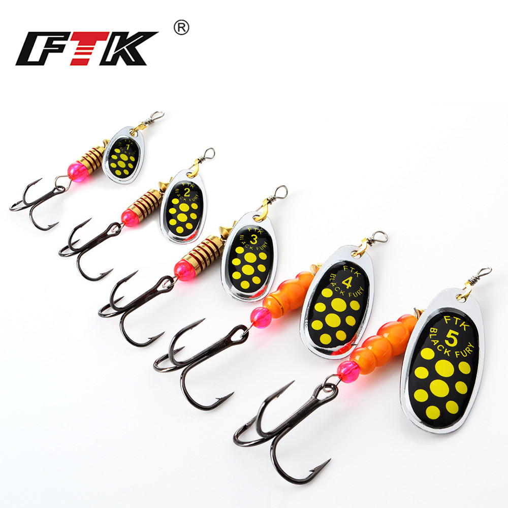 FTK Spinner Bait Fishing Lures Mixed Weight/Size High Carbon Steel Treble Hook Fishing Wobblers Sharp Mustad Hook Long Cast
