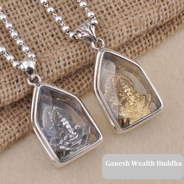 100% 925 Silver Tibetan Ganesh Buddha Pendant Necklace Sterling Ganesa Wealth Buddha Pendant Necklace Elephant Buddha Amulet цена