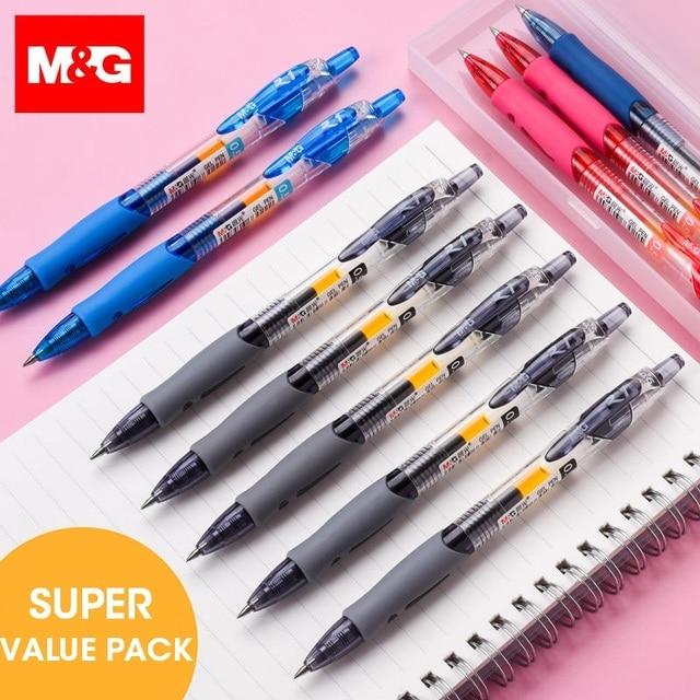 Ручка гелевая M & G NO.1 выдвижная, 0,5 мм, черная, синяя, красная