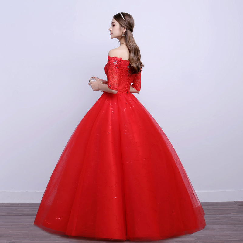 LAMYA Vintage Red Boat Neck Wedding Dresses With Short Sleeves 2019 Lace Ball Gown Vestidos De Noiva alibaba retail store in Wedding Dresses from Weddings Events