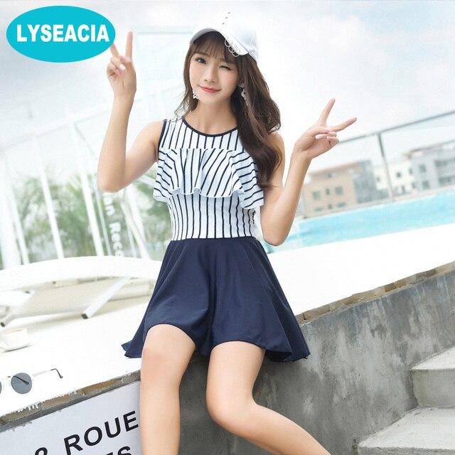 8581af1e961 LYSEACIA M-3XL Beach Swim Dress Women Two Piece Swimsuits for Girls Stripes  Top Navy Blue Skirt Beach Shorts Women s Beachwear