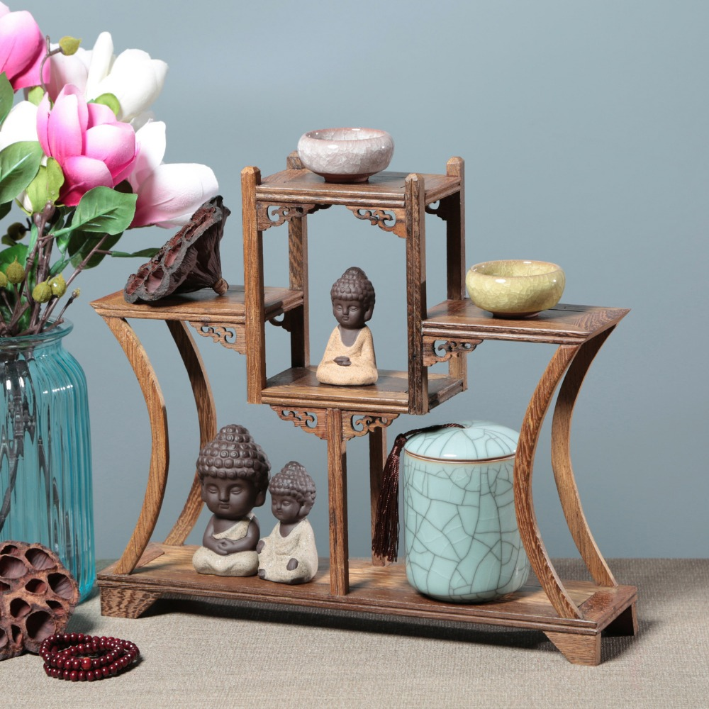 Living Room Desktop Decors Curio Box Shelf Wenge Wood Ornaments Home Decoratios Rosewood Figurines Art Crafts