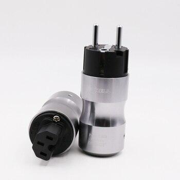 1 пара Hifi аудио родиевое покрытие ЕС Schuko шнур переменного тока разъем питания + IEC гнездовой разъем адаптер для Hifi DIY кабель питания