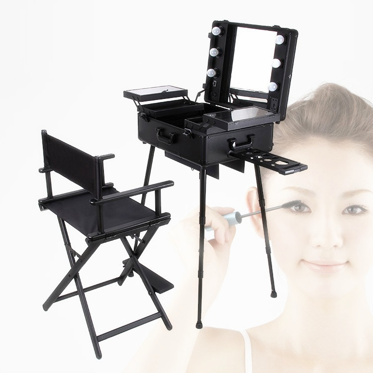 Free Shipping To Europe, India, UK, 1set/lot, Black Lighted Makeup Station  With Portable Chair In Cosmetic Bags U0026 Cases From Luggage U0026 Bags On ...