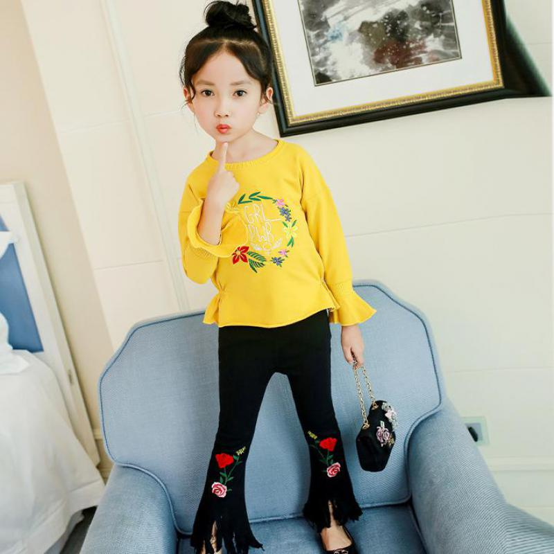 Teenage Girls Clothing Set 2018 Spring Suit For Girls Suit Set Toddler Girl Children Clothing Embroidery T-shirts + Tassel Pants free shipping children clothing spring girl three dimensional embroidery 100% cotton suit long sleeve t shirt pants