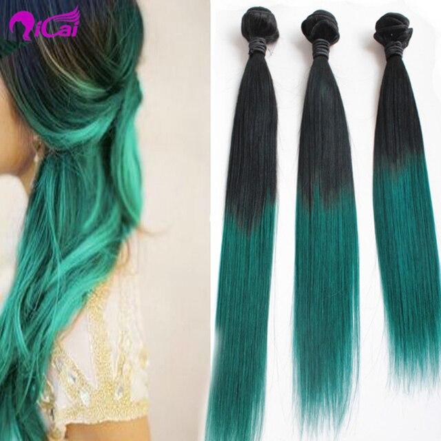 Qingdao 1bemerald Ombre Hair Extensions3 Bundles Black And Green