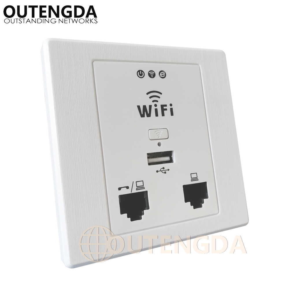 OUTENGDA WPL6058 dibujo-panel blanco 300Mbps interior 86 enchufe de pared con WiFi inWall AP punto de acceso inalámbrico (Caja de pared opcional)