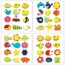 12pcs Colorful Kids Baby Wood Cartoon Fridge Magnet Child Kids Educational Toys 1P1A