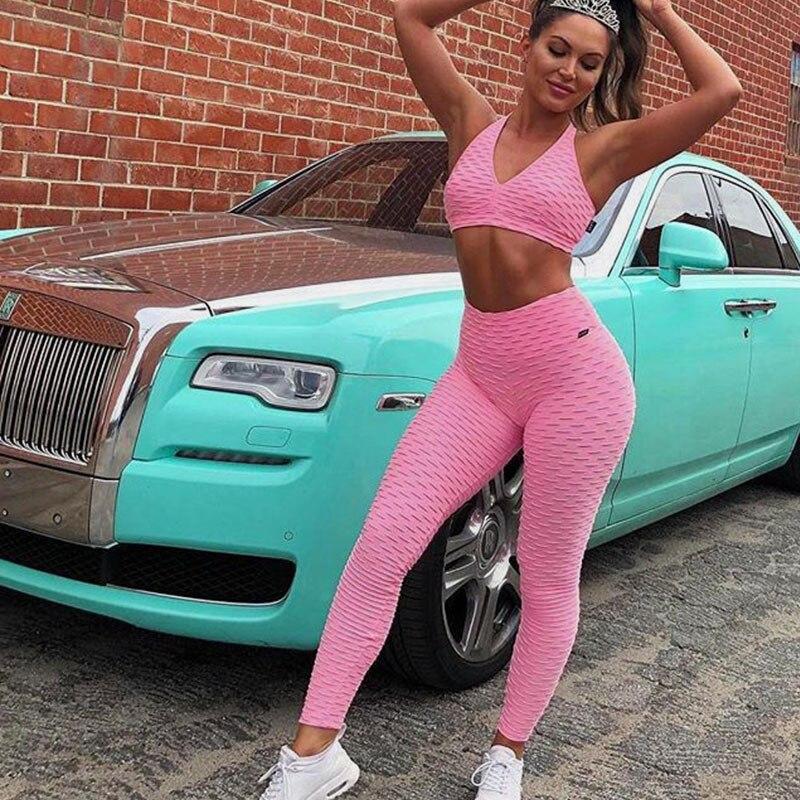 Frauen Fitness Anzüge Crop Tank Workout Tiefe V Neck Top Und Legging Hosen 2 stücke Set 2018 Mode Damen rosa Sexy Trainingsanzug