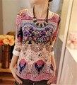 Nueva Moda 2016 de Las Mujeres Imprimir Blusa de La Gasa Del O-cuello Elegante Floral de Tres Cuartos de la Manga de Soplo de la Camisa Blusas de Las Mujeres Del Verano Tops XXL