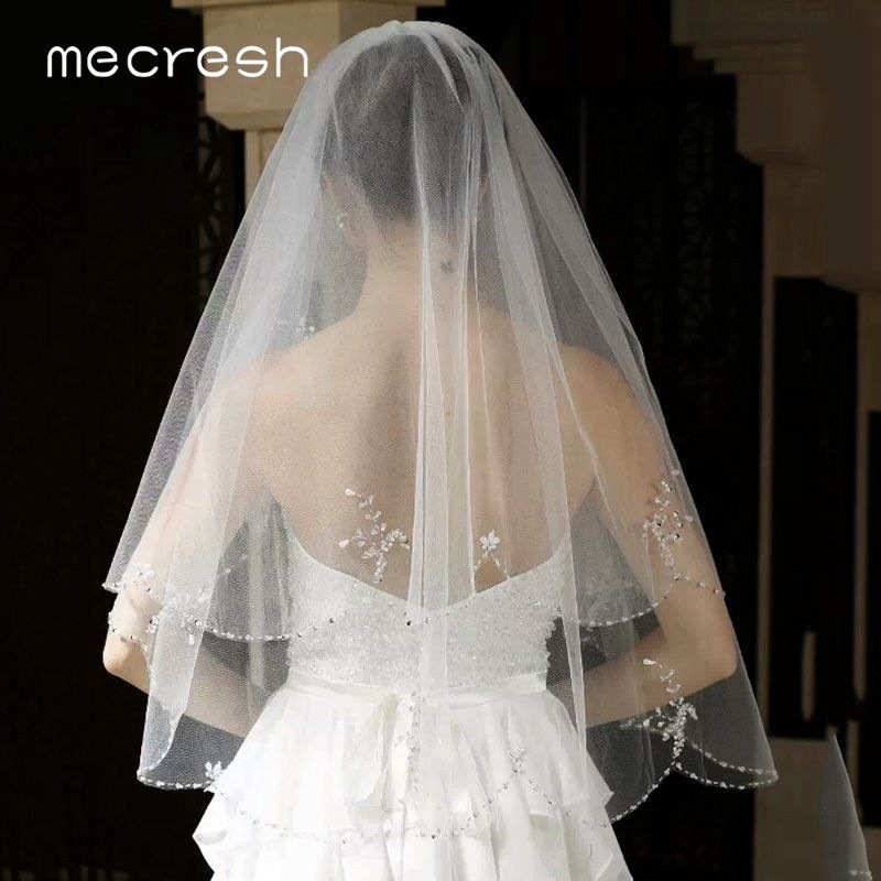 Image 4 - Mecresh Floral Lace Bridal Wedding Veils Women Accessories One Layer White Ivory Tulle Mariage Elbow Length Veil for Bride TS004Bridal Veils   -